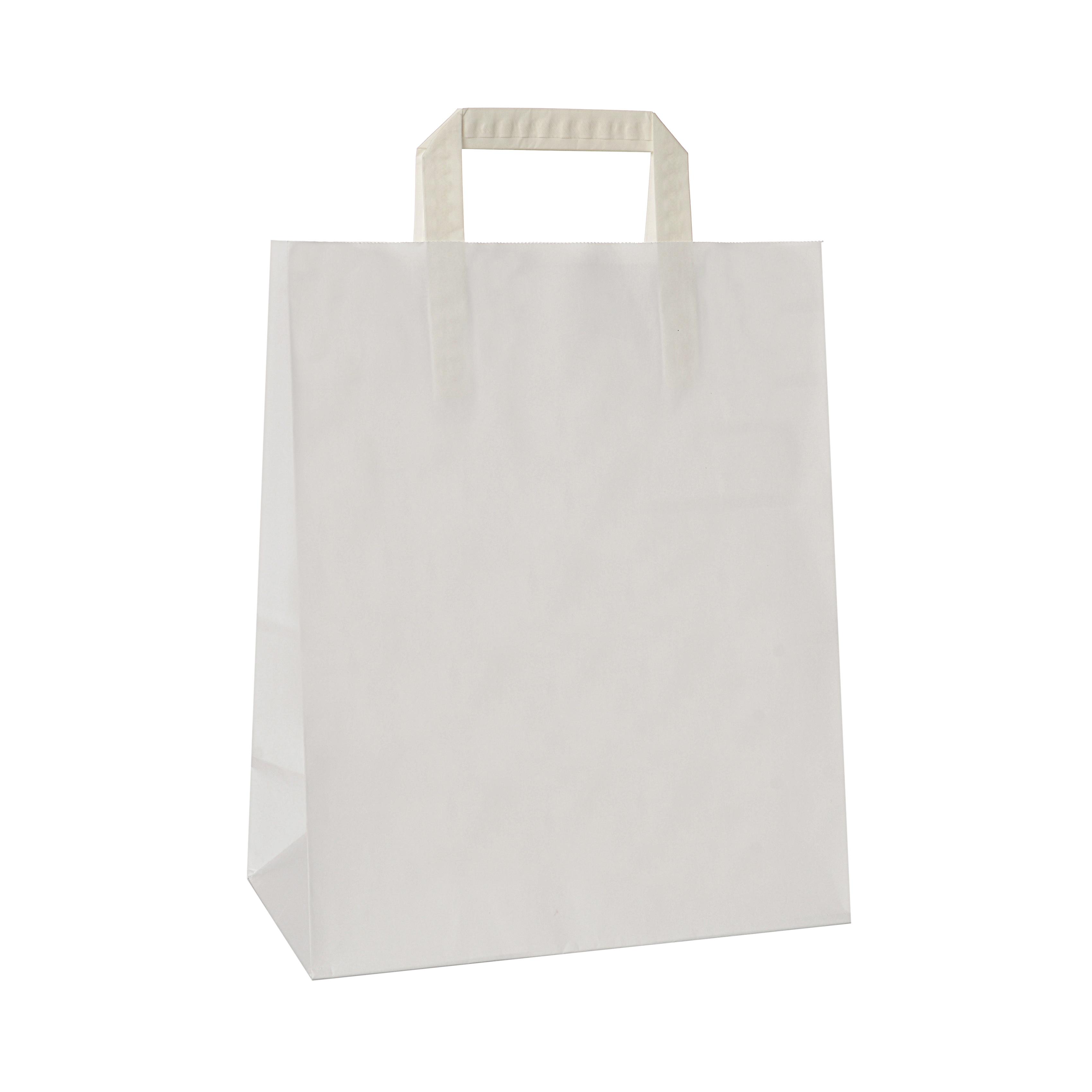 Torba papierowa TOPCRAFT KRAFT uchwyt składany 32x14x42 50 szt biała