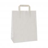 Torba papierowa TOPCRAFT KRAFT  uchwyt składany 26x14x32 /100 szt/ biała