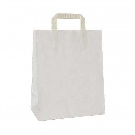 Torba papierowa TOPCRAFT KRAFT  uchwyt składany 26x14x32 /10 szt/ biała